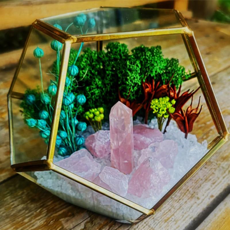 iubire si cuart roz - terariu cristale energetice 7 chakre terariu iubire si cuart roz 2