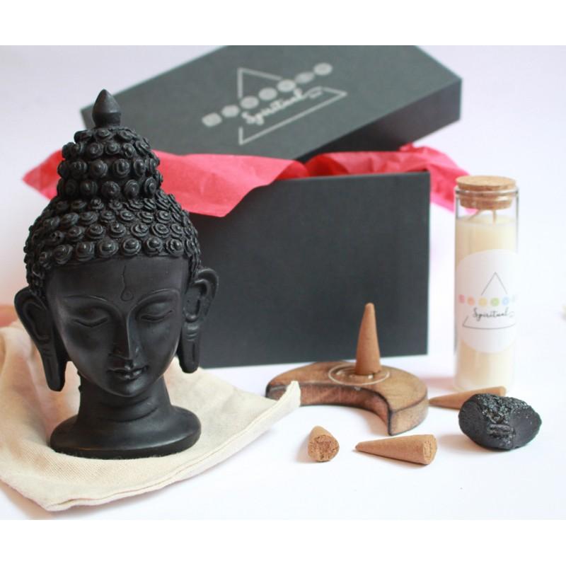 set statueta buddha astral box - seturi cristale energetice set cu statueta buddha neagra, lumanare chakra si cristale energetice 2
